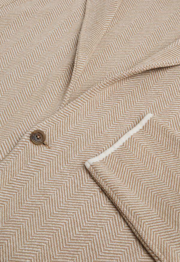 Linen Blend Chevron Sweater Jacket, image 2