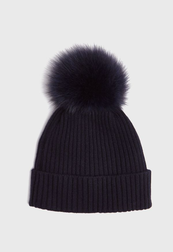 Cashmere Ribbed Hat with Fur Pom, image 1