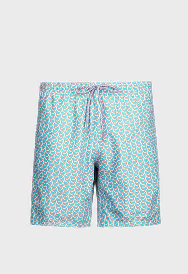 Two Color Wave Print Swim Trunk, image 1