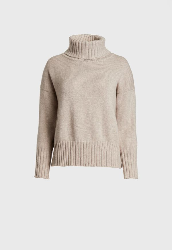 Cashmere Cropped Turtleneck Sweater, image 1