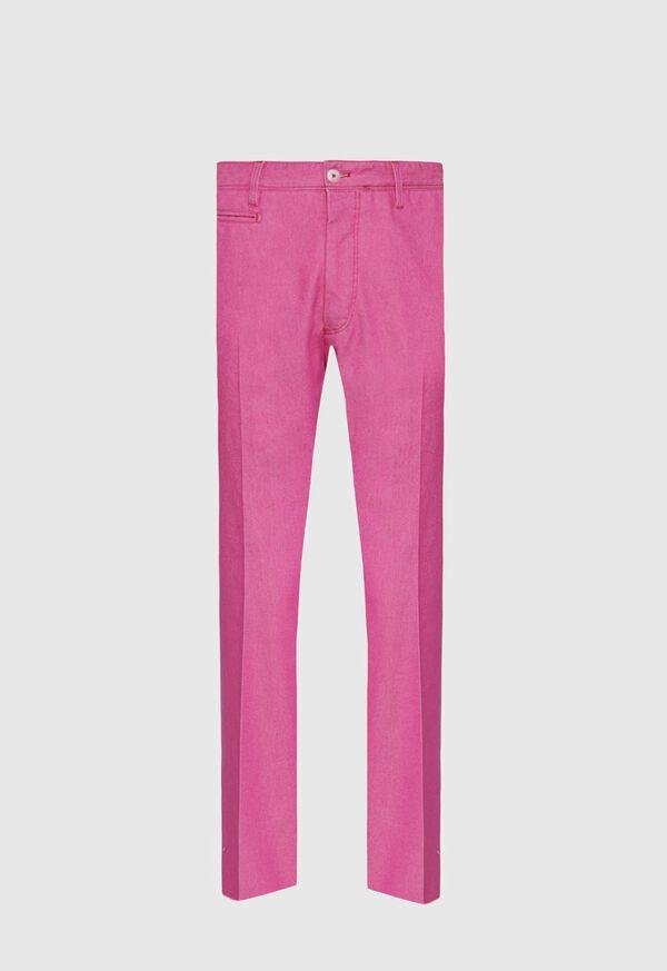 Pink Cotton Blend Denim Pant, image 1