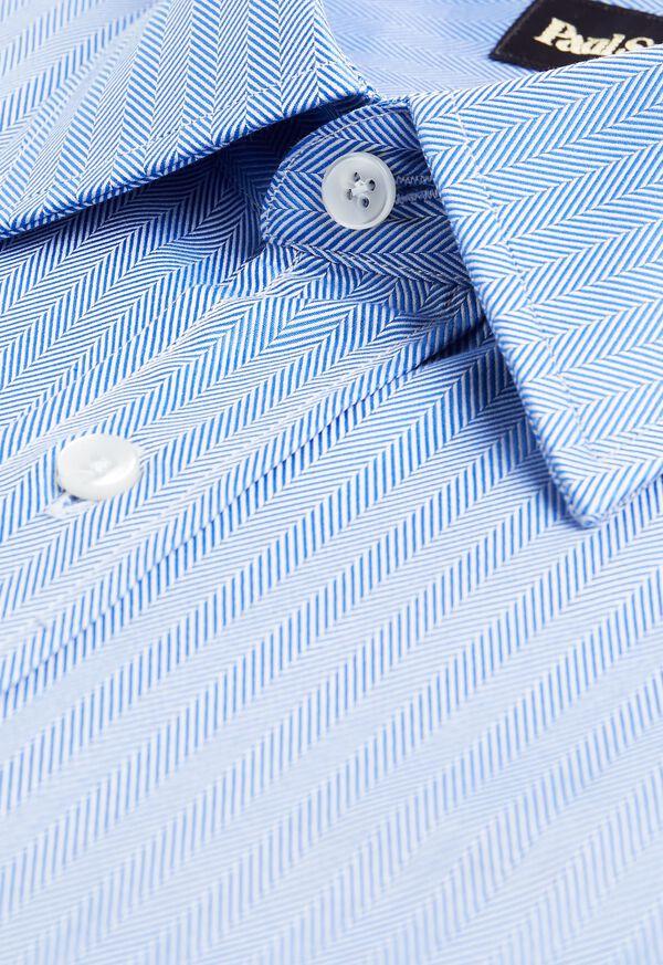 Blue Herringbone Dress Shirt, image 2