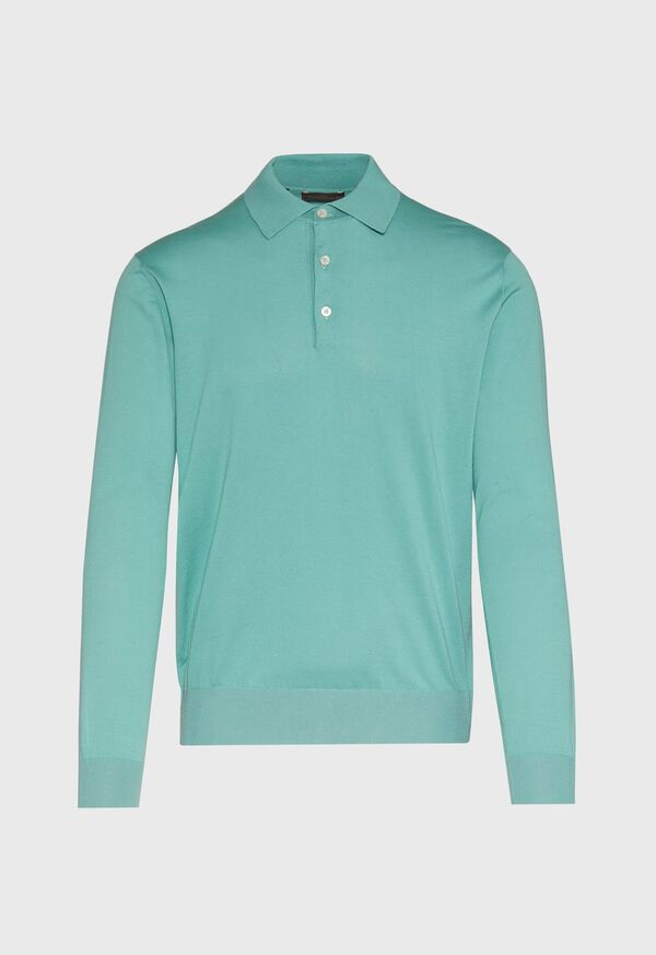 Long Sleeve Cotton Polo Shirt, image 1