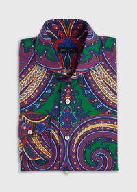 Blue Paisley Cotton Shirt, thumbnail 1
