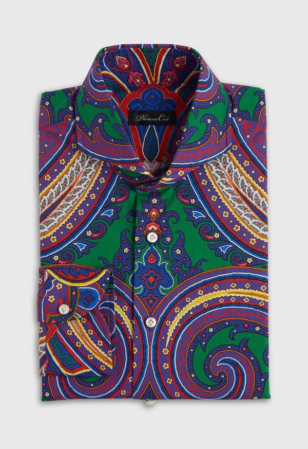 Blue Paisley Cotton Shirt, image 1