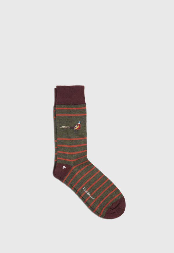 Stripe Sock With Pheasant Motif, image 1