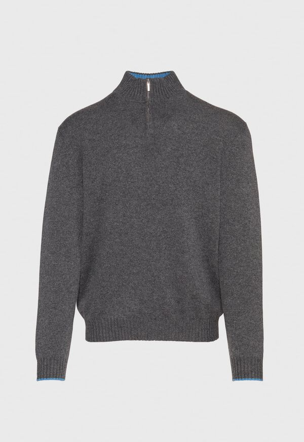 Cashmere Quarter Zip Mock Neck Sweater, image 1