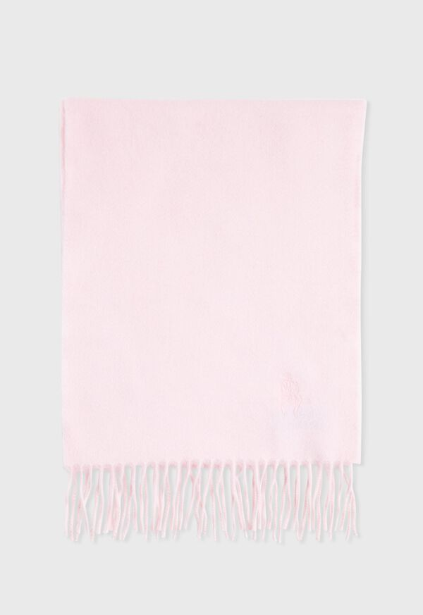 Cashmere Solid Color Scarf with Embroidered Logo, image 2