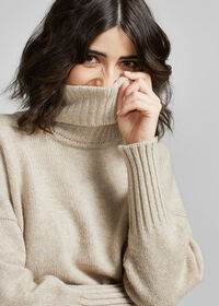 Cashmere Cropped Turtleneck Sweater, thumbnail 4
