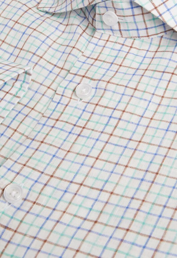Linen Two Color Tattersall Sport Shirt, image 2