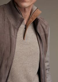 Cashmere 1/4 Zip Sweater with Suede Under Placket, thumbnail 2