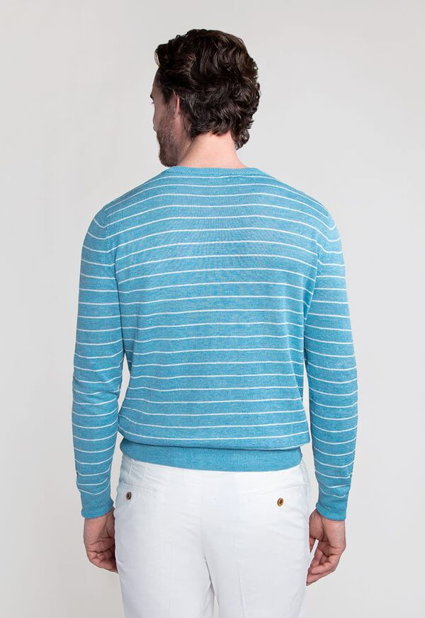 Linen and Silk Striped Crewneck Sweater, image 3