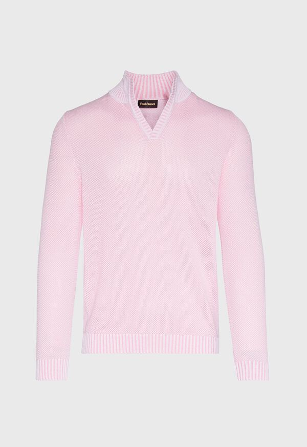 Cotton Open Collar Birdseye Stitch Sweater, image 1