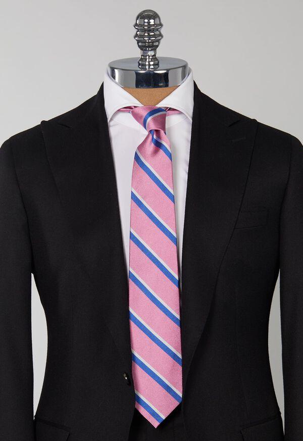 Silk Regimental Stripe Skinny Tie, image 2