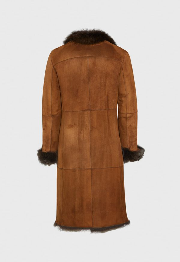 Leather Brown Long Coat, image 3