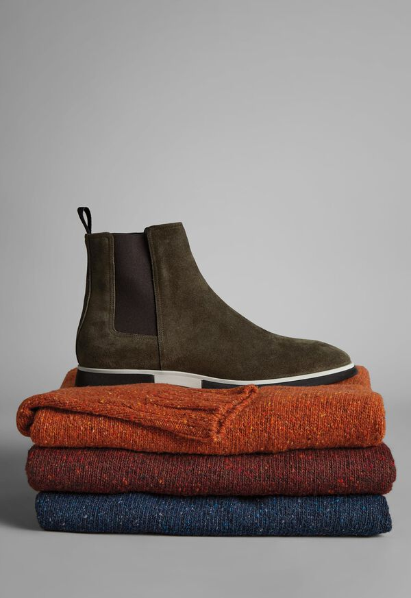 FW21 Paul Stuart Catalog Mansfield Chelsea Boot on Donegal Sweater Stack Look, image 1