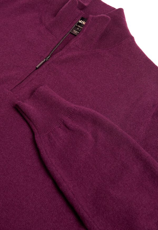 Cashmere Quarter Zip Mock Sweater, image 2