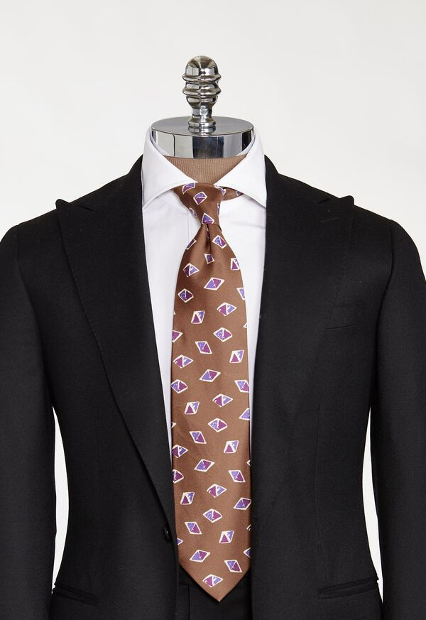 Deco Tricolor Diamond Print Tie, image 2