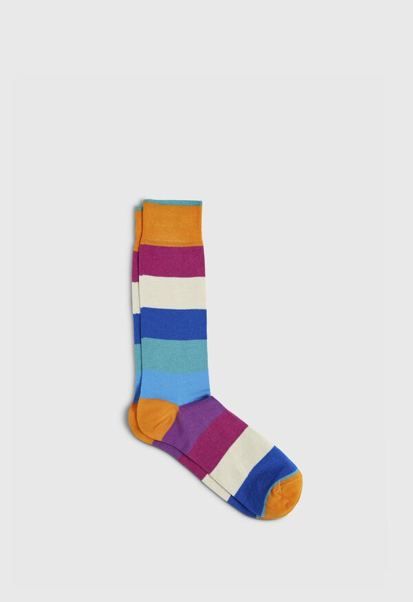 Multi Color Stripe Crew Sock, image 1