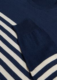 Navy & White Cotton Blend Striped Sweater, thumbnail 2