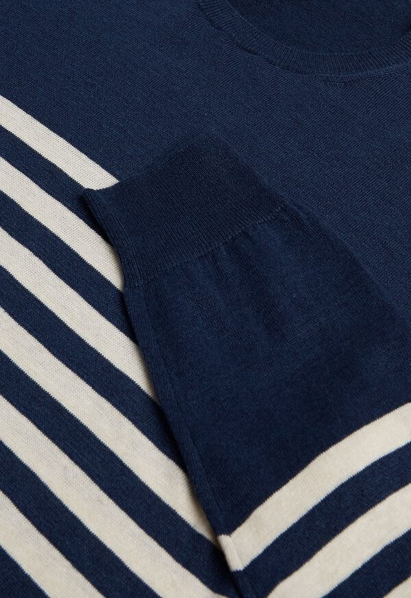 Navy & White Cotton Blend Striped Sweater, image 2