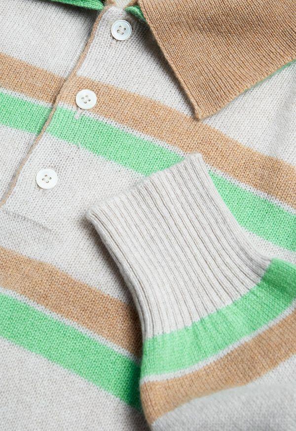 Cashmere Double Collar Stripe Polo, image 2