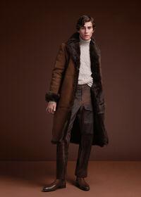 Leather Brown Long Coat, thumbnail 2
