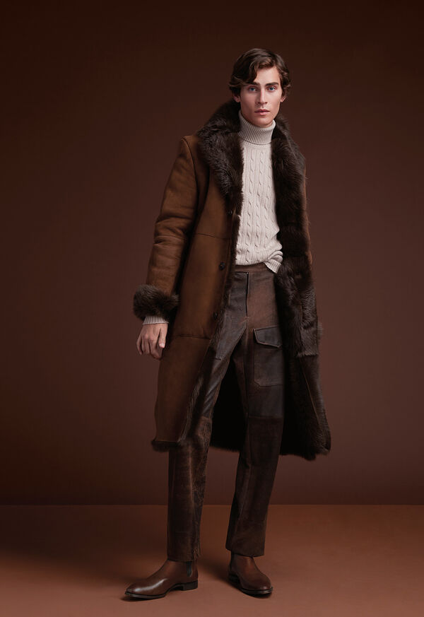 Leather Brown Long Coat, image 2