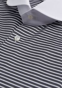 Black & White Horizontal Stripe White Round Collar Shirt, thumbnail 3