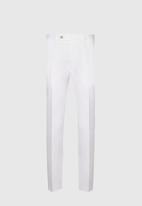 White Solid Linen & Cotton Pant, image 1