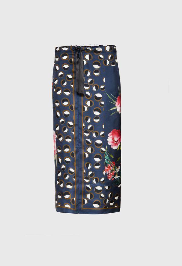 Silk Patchwork Midi Skirt, image 1