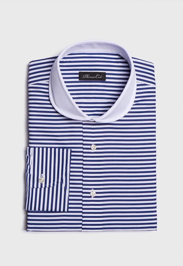 Round Collar Royal Blue Stripe Shirt, image 1