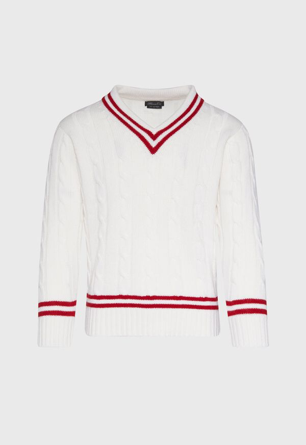Red Stripe Cable Knit Tennis Sweater