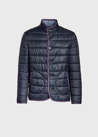 Nylon Quilted Coat With Contrast Piping, thumbnail 1