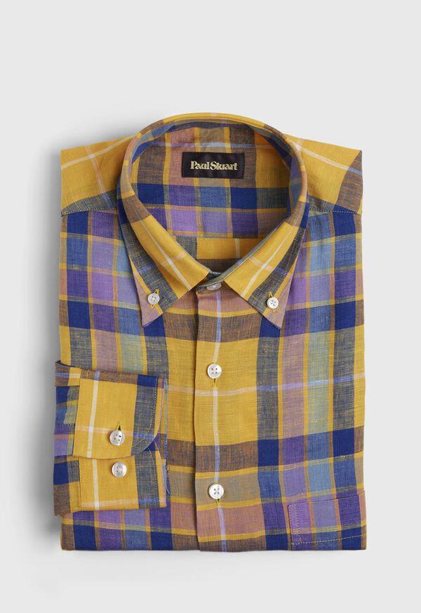 Linen Multi Color Plaid Sport Shirt