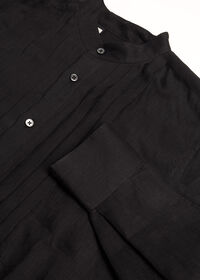 Black Linen Pleated Pull Over Lounge Set, thumbnail 7