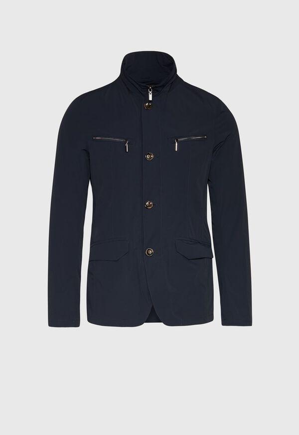 Navy Nylon Blazer Jacket, image 1