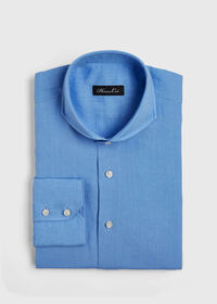 Light Blue Washed Linen Sport Shirt, thumbnail 1