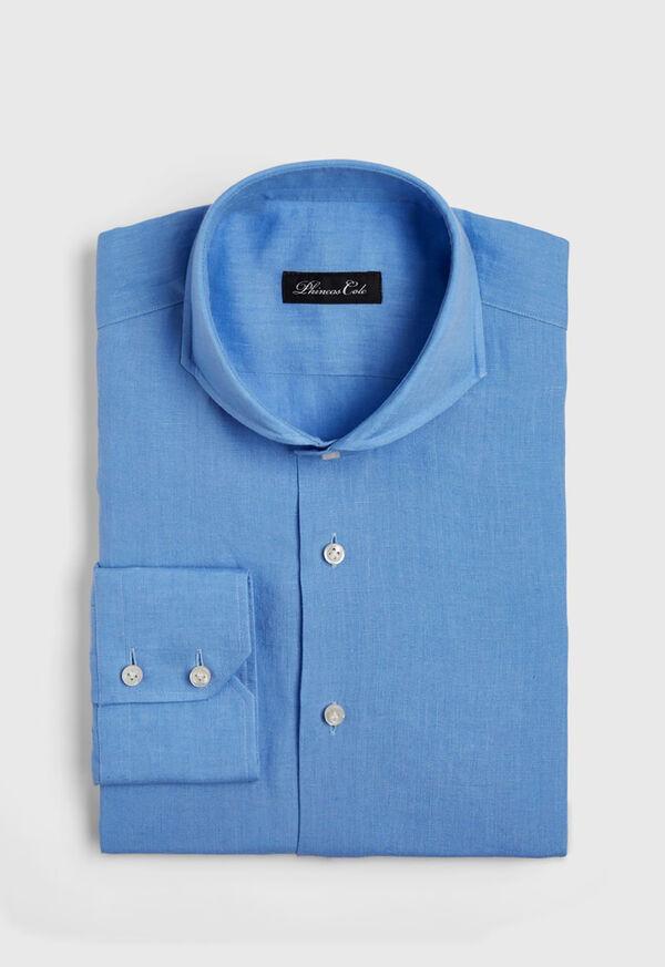 Light Blue Washed Linen Sport Shirt, image 1