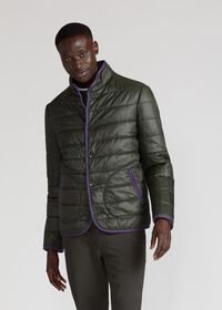 Nylon Quilted Coat With Contrast Piping, thumbnail 2