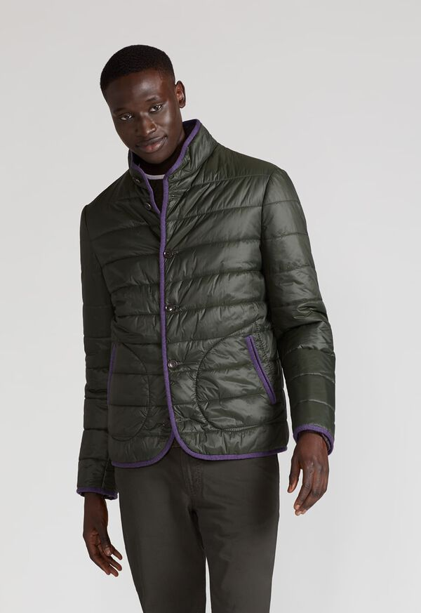 Nylon Quilted Coat With Contrast Piping, image 2
