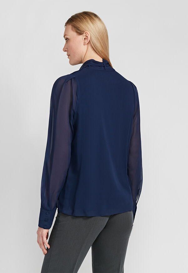 Tie Front Silk Blouse, image 3