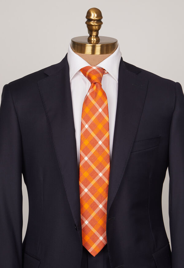 Silk And Linen Plaid Tie, image 2