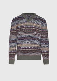 Fair Isle V-neck Sweater, thumbnail 1
