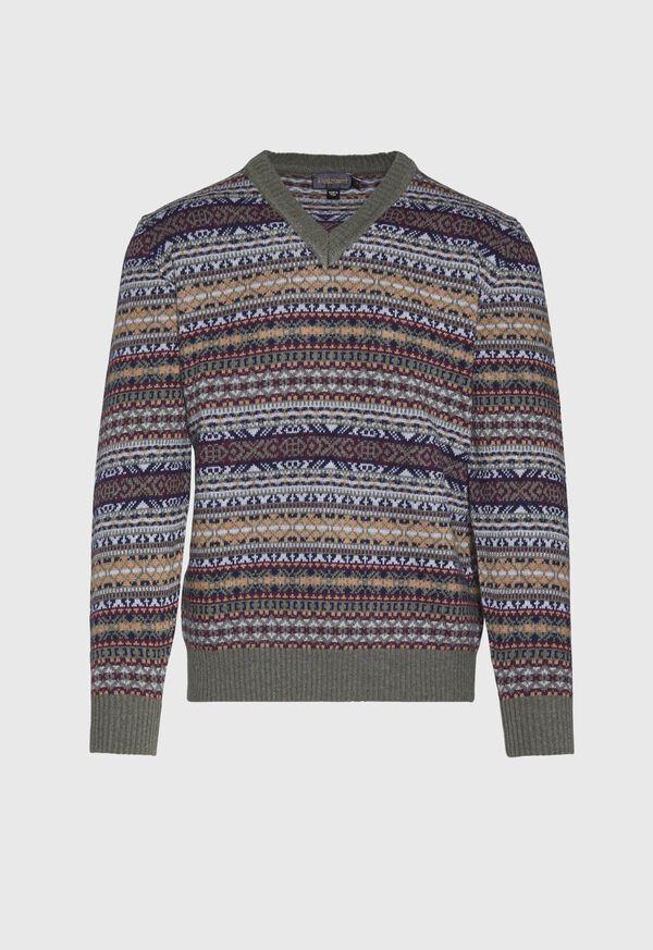 Fair Isle V-neck Sweater, image 1