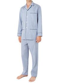 Narrow Stripe Pajamas with Navy Piping, thumbnail 4