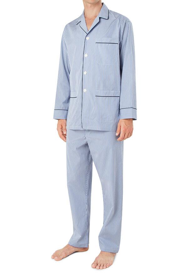 Narrow Stripe Pajamas with Navy Piping, image 4