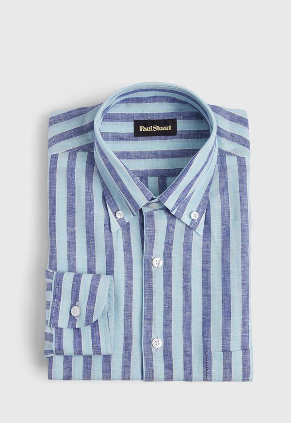 Linen 2 Color Awning Stripe Sport Shirt, image 1