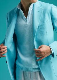 Cotton Open Collar Birdseye Stitch Sweater, thumbnail 4
