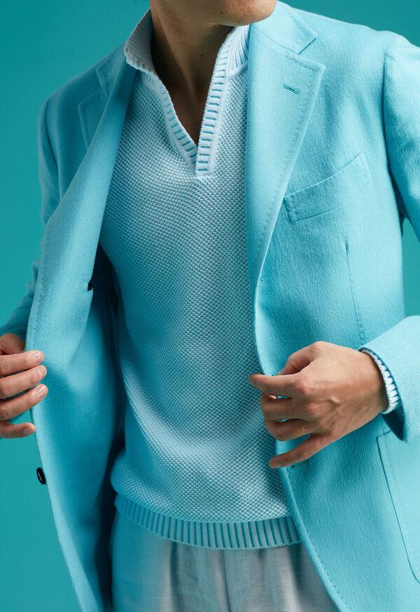 Cotton Open Collar Birdseye Stitch Sweater, image 4